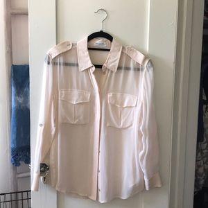 Equipment Pink Silk Button Up Sz XS